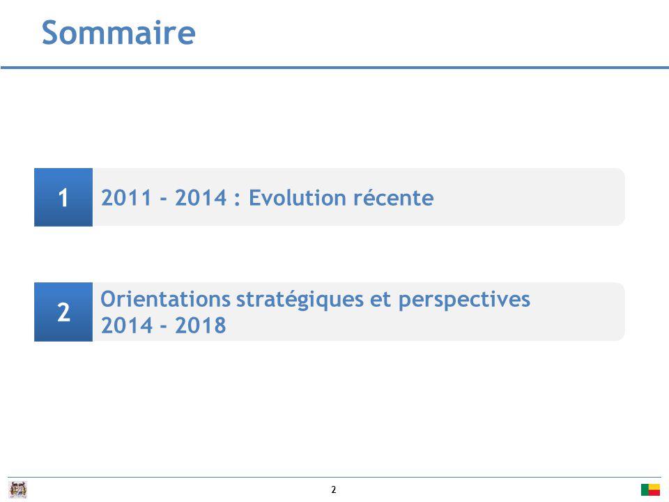 Sommaire 1 2 2011 - 2014 : Evolution récente