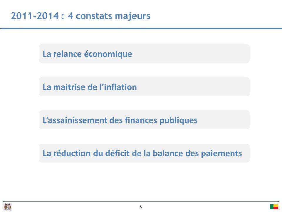2011-2014 : 4 constats majeurs La relance économique. La maitrise de l'inflation. L'assainissement des finances publiques.