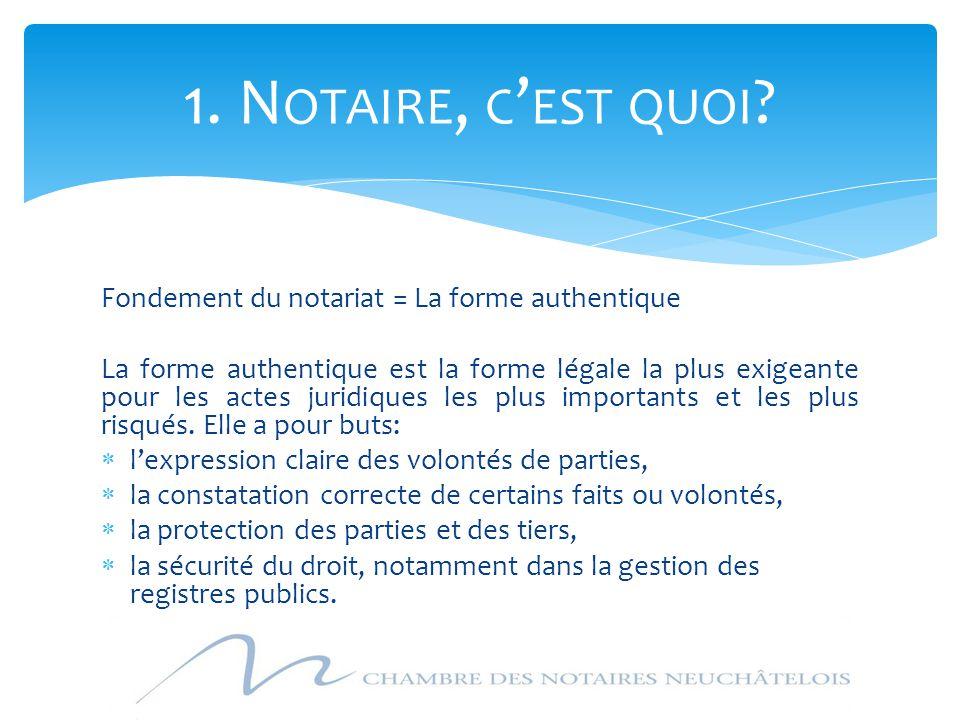1. Notaire, c'est quoi Fondement du notariat = La forme authentique