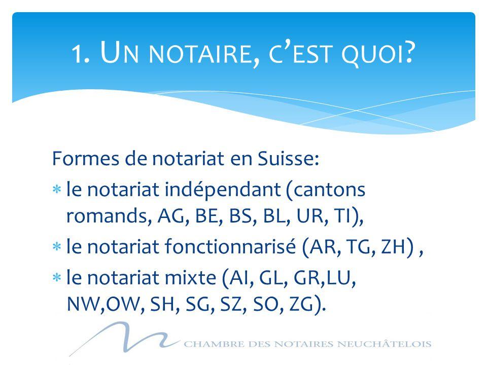 1. Un notaire, c'est quoi Formes de notariat en Suisse: