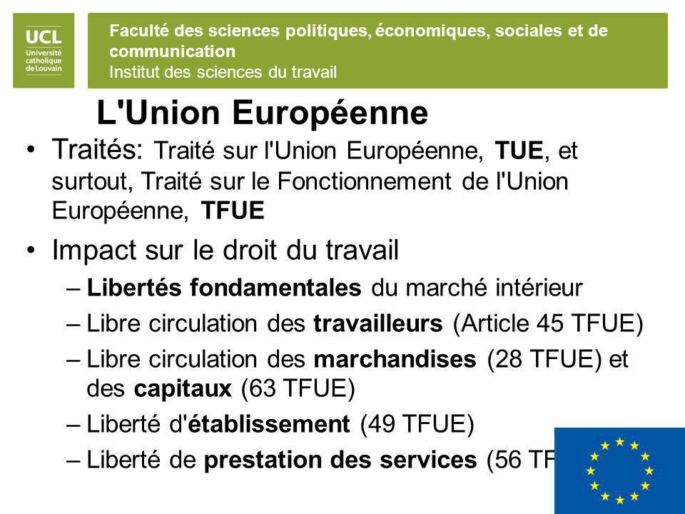 L Union Européenne Traités: Traité sur l Union Européenne, TUE, et surtout, Traité sur le Fonctionnement de l Union Européenne, TFUE.