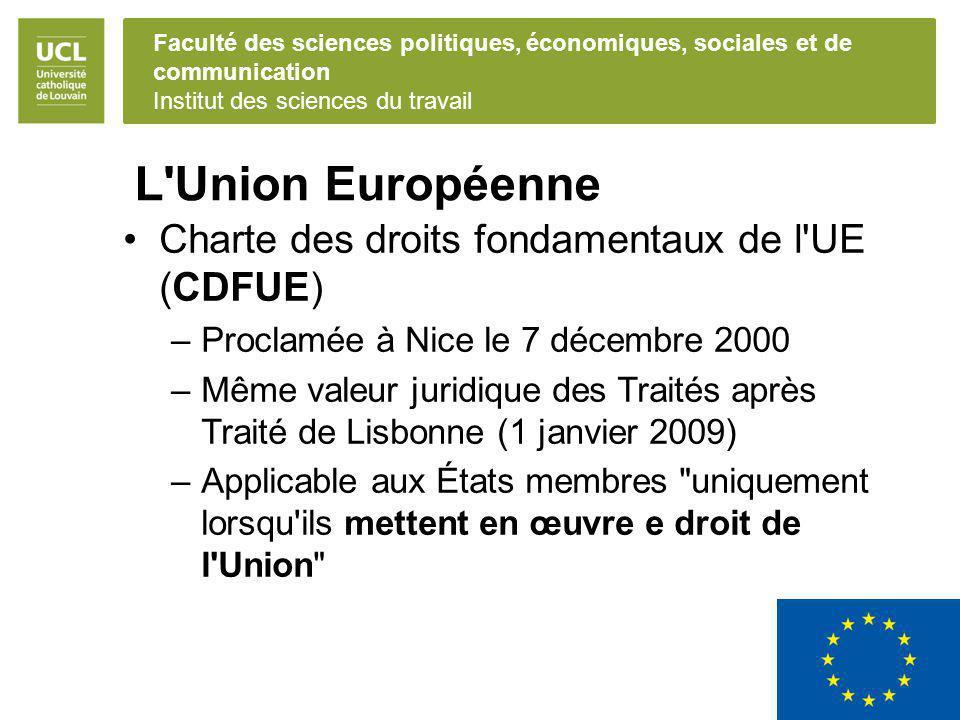 L Union Européenne Charte des droits fondamentaux de l UE (CDFUE)