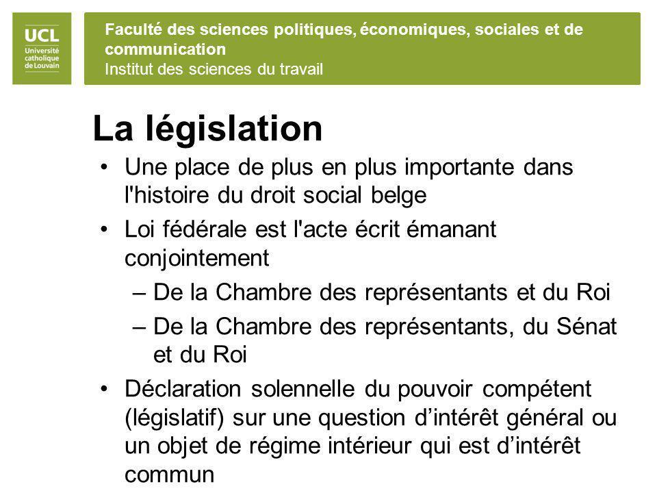 La législation Une place de plus en plus importante dans l histoire du droit social belge. Loi fédérale est l acte écrit émanant conjointement.