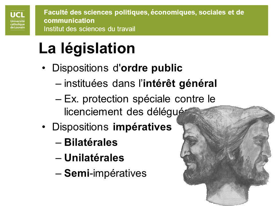 La législation Dispositions d ordre public