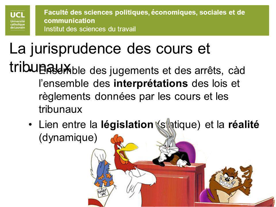 La jurisprudence des cours et tribunaux