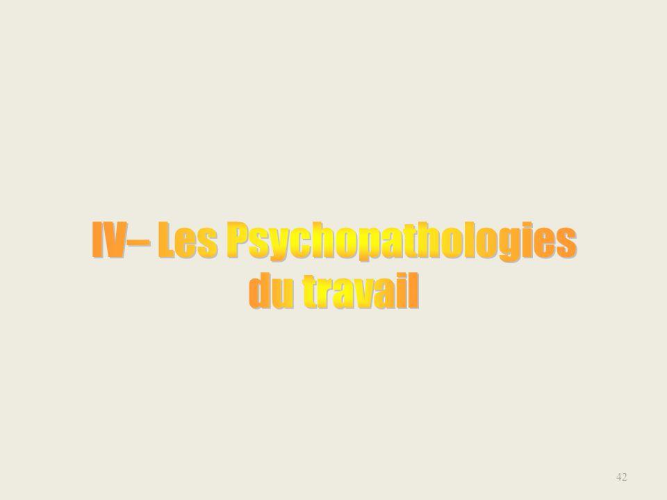 IV– Les Psychopathologies du travail