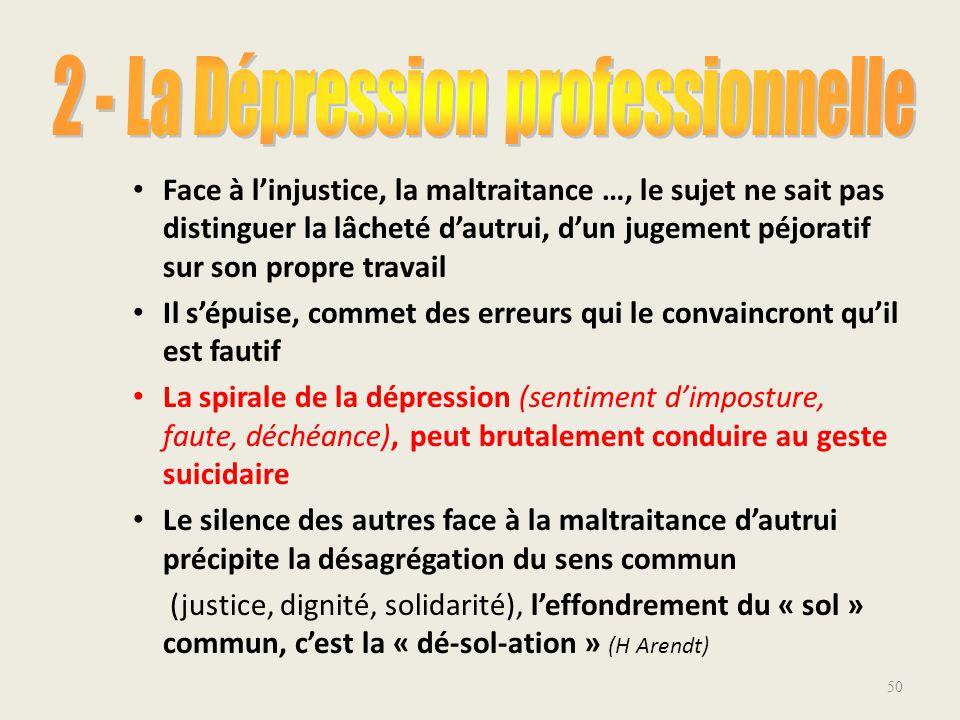 2 - La Dépression professionnelle