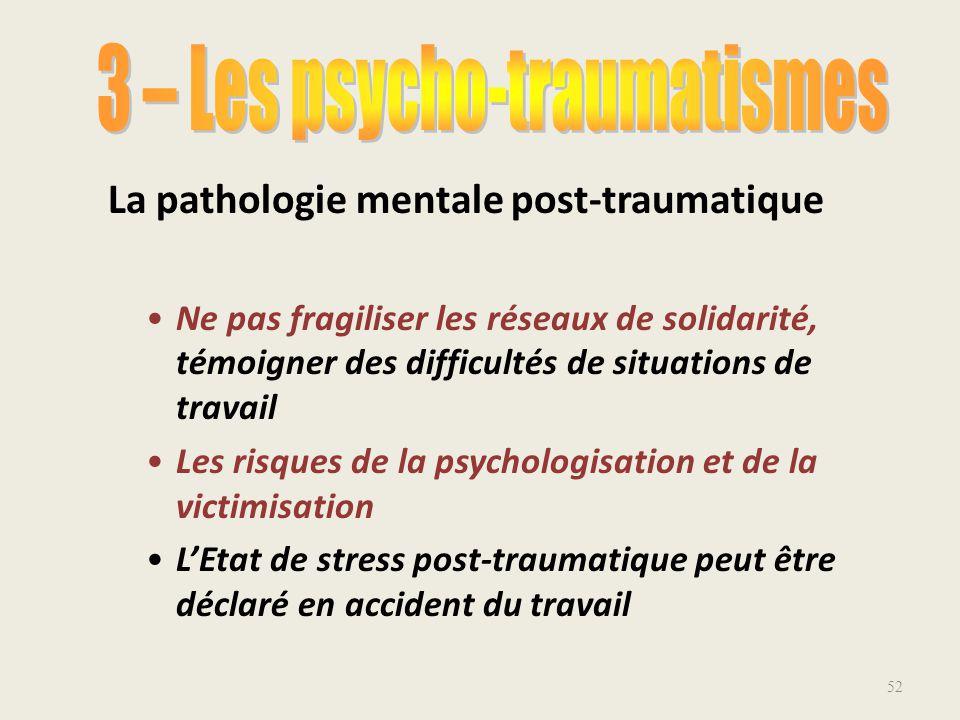 3 – Les psycho-traumatismes