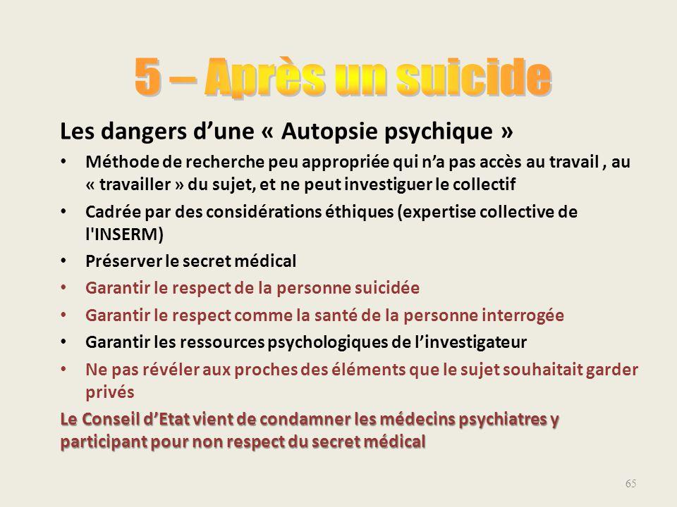 5 – Après un suicide Les dangers d'une « Autopsie psychique »