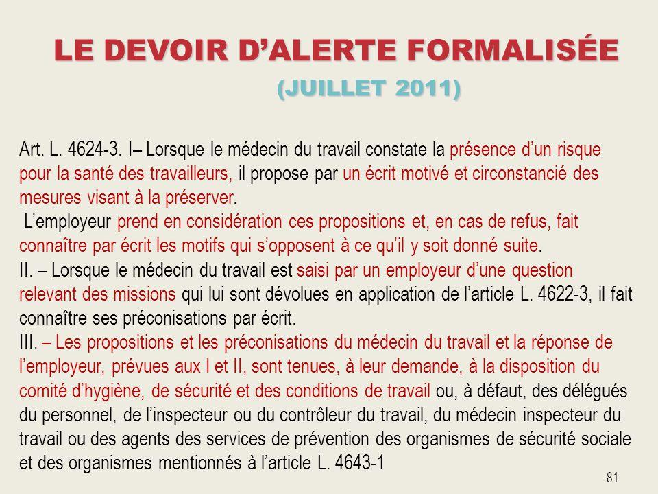 LE DEVOIR D'ALERTE FORMALISÉE (JUILLET 2011)