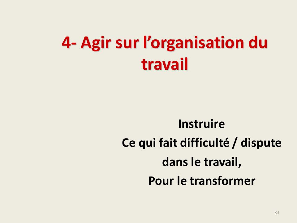 4- Agir sur l'organisation du travail