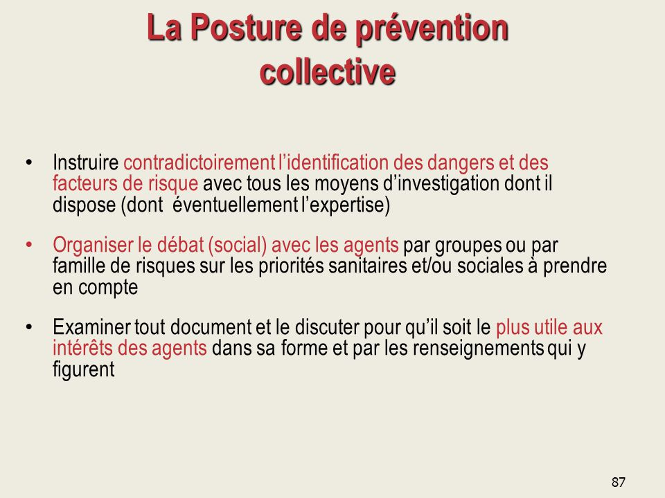 La Posture de prévention collective