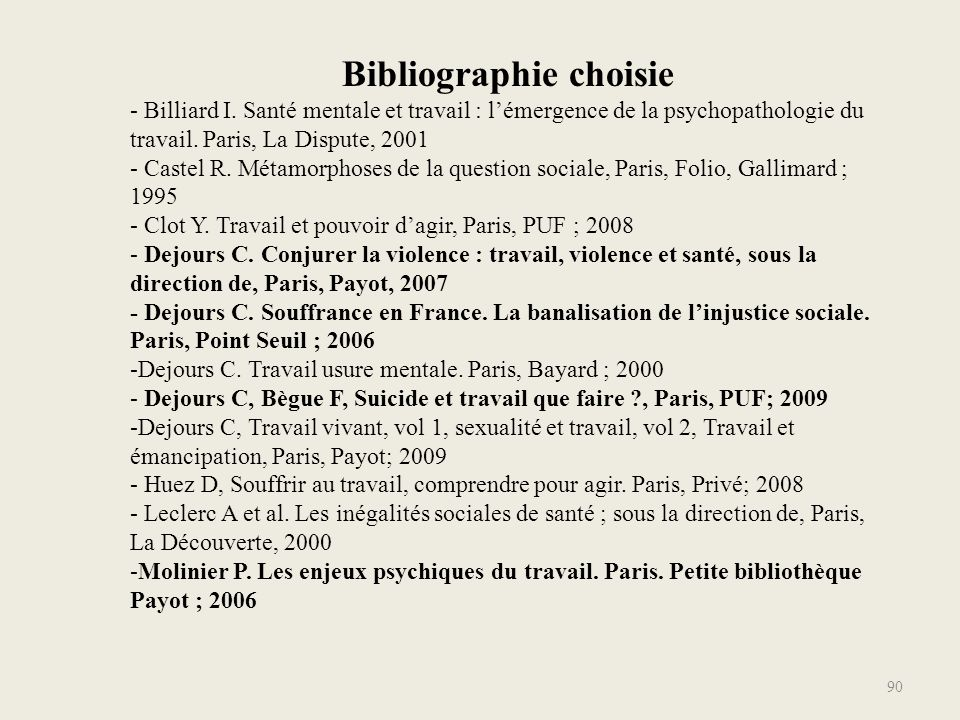 Bibliographie choisie