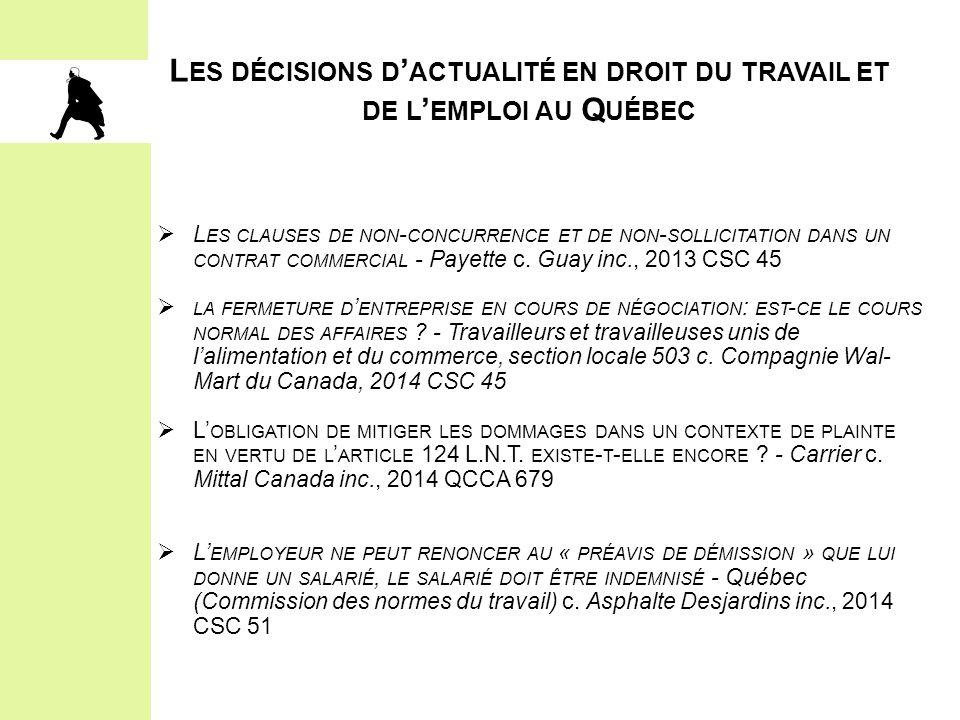 Les décisions d'actualité en droit du travail et de l'emploi au Québec