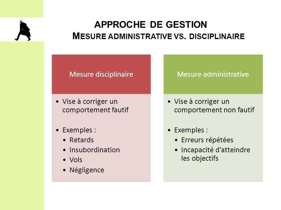 APPROCHE DE GESTION Mesure administrative vs. disciplinaire