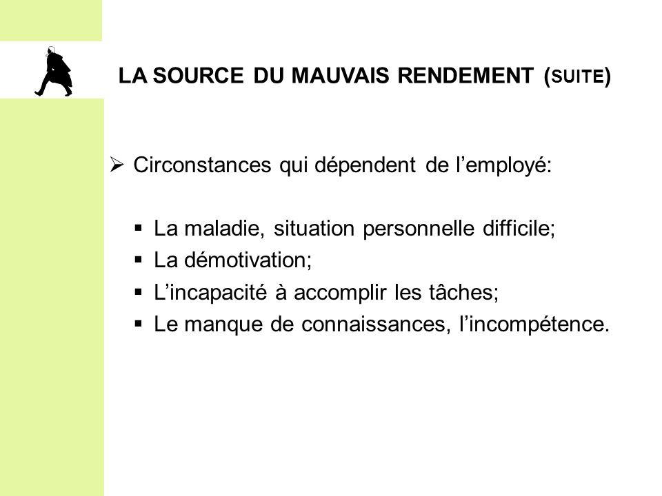 LA SOURCE DU MAUVAIS RENDEMENT (suite)