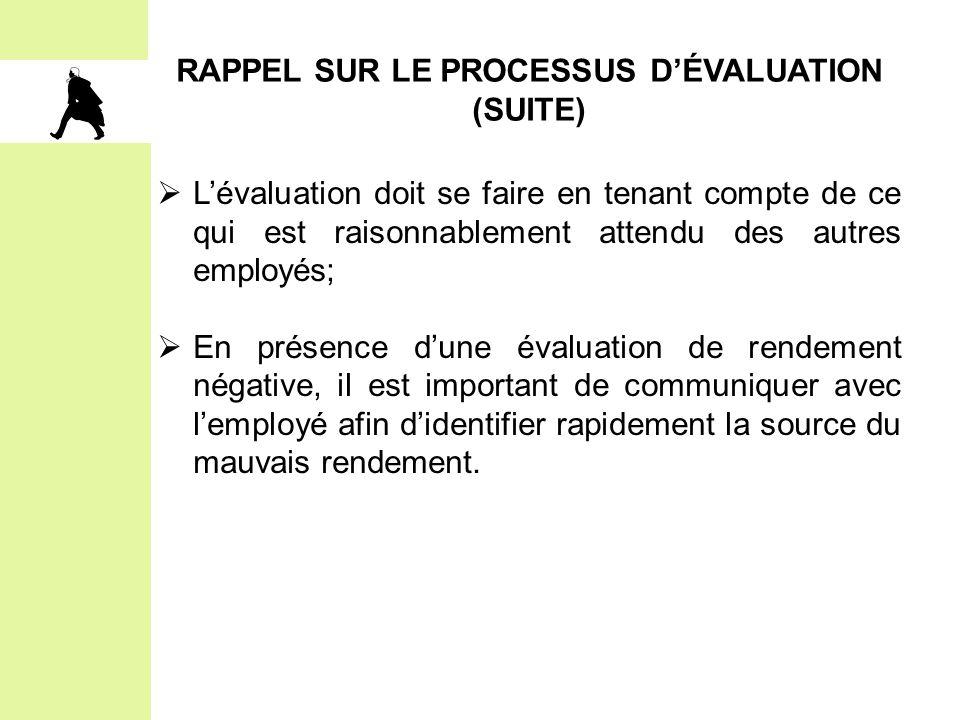 RAPPEL SUR LE PROCESSUS D'ÉVALUATION (SUITE)
