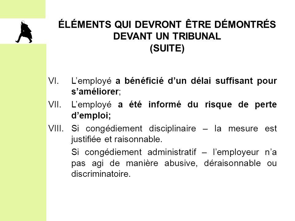 ÉLÉMENTS QUI DEVRONT ÊTRE DÉMONTRÉS DEVANT UN TRIBUNAL (SUITE)