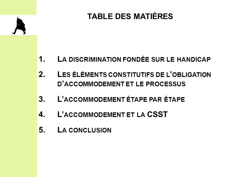 Table des matières 1. La discrimination fondée sur le handicap. 2. Les éléments constitutifs de l'obligation d'accommodement et le processus.