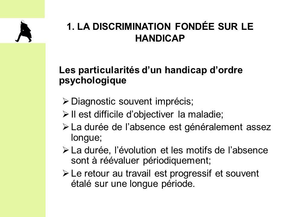 1. La DISCRIMINATION FONDÉE SUR LE HANDICAP