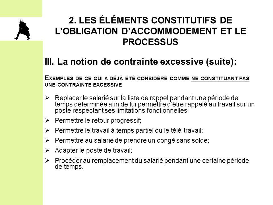 III. La notion de contrainte excessive (suite):