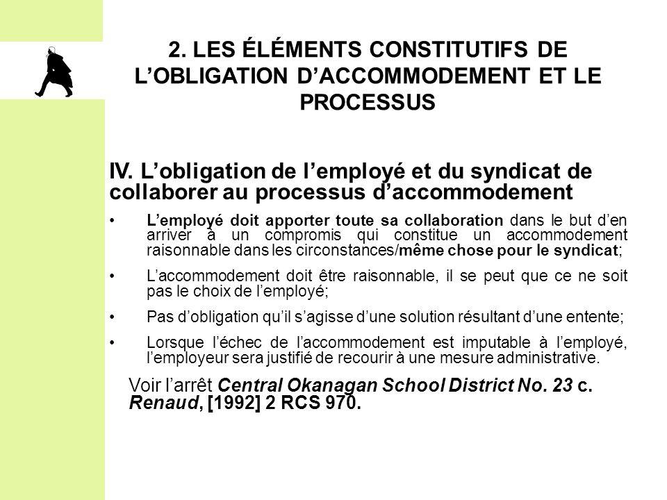 2. Les éléments constitutifs de l'obligation d'accommodement et le processus