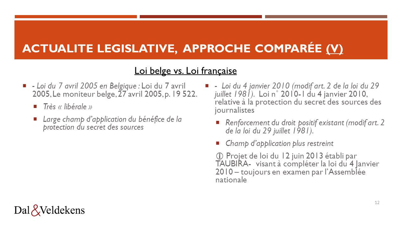 ACTUALITE LEGISLATIVE, Approche comparée (V)