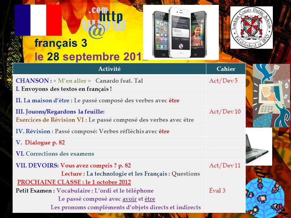 français 3 le 28 septembre 2012 Activité Cahier