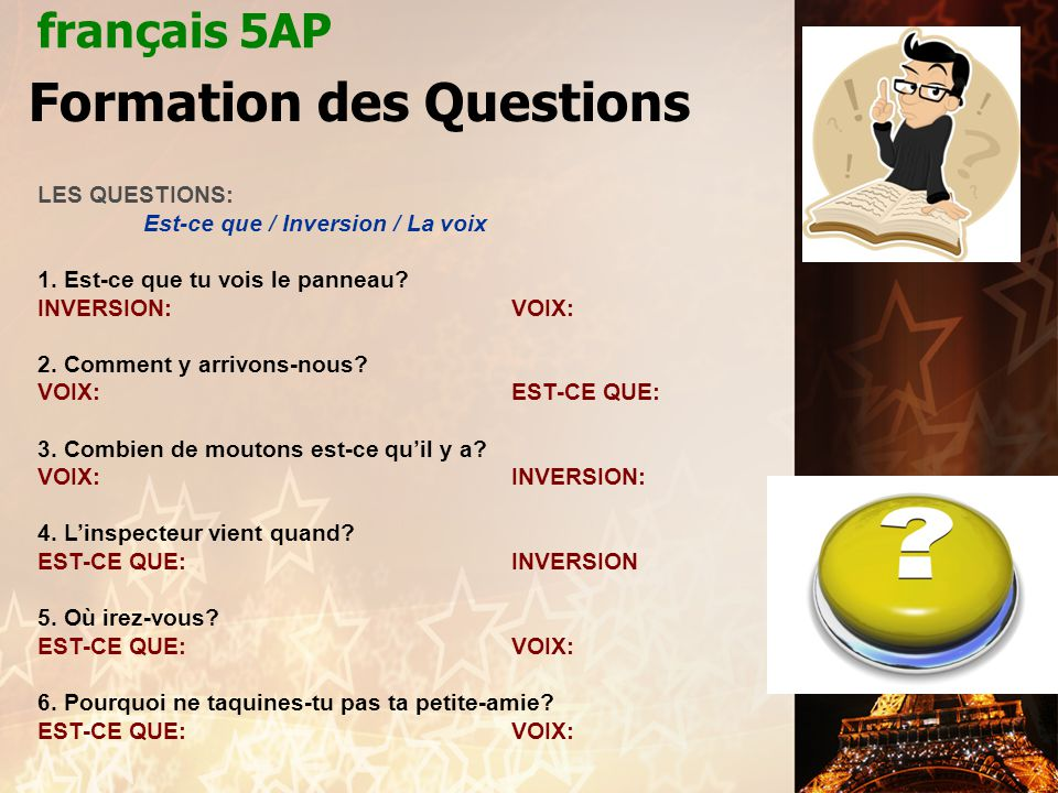 Formation des Questions