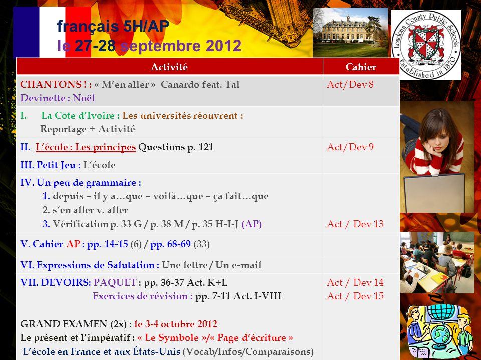 français 5H/AP le 27-28 septembre 2012
