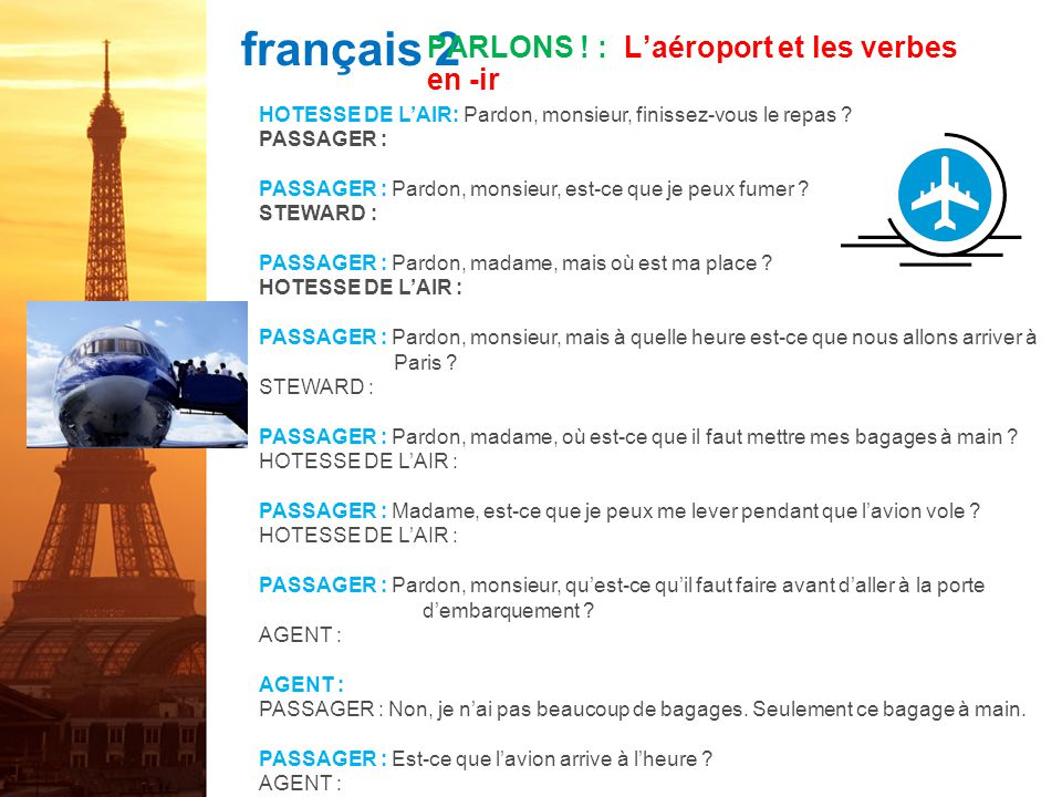 PARLONS ! : L'aéroport et les verbes en -ir