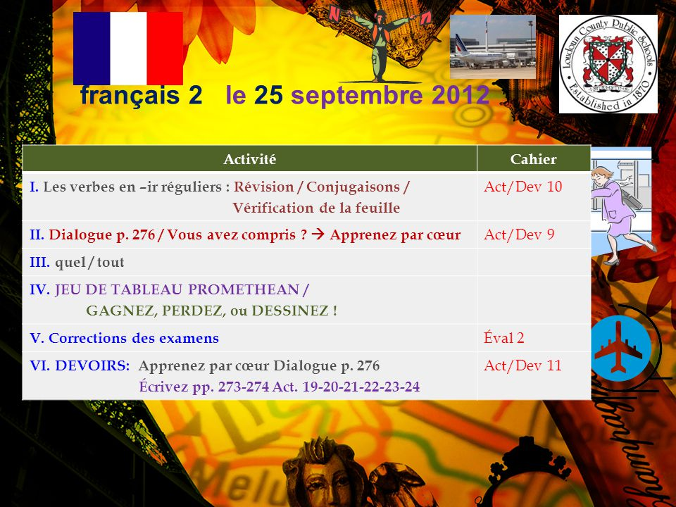 français 2 le 25 septembre 2012 Activité Cahier