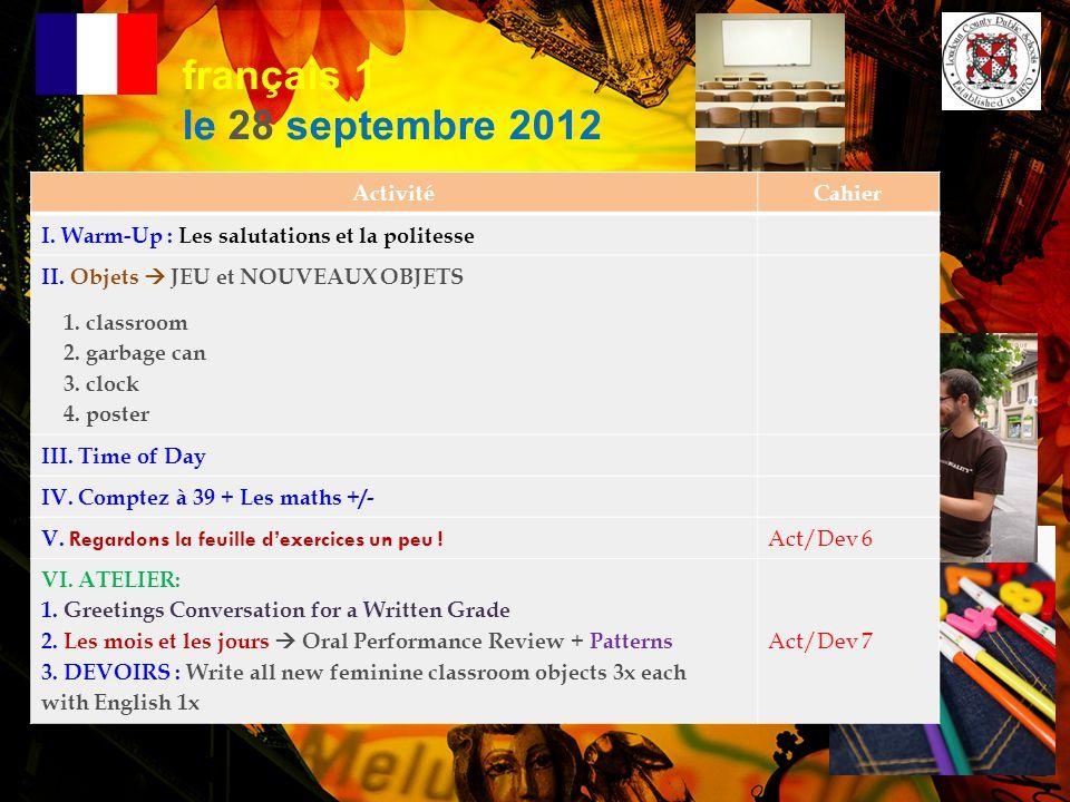 français 1 le 28 septembre 2012 Activité Cahier