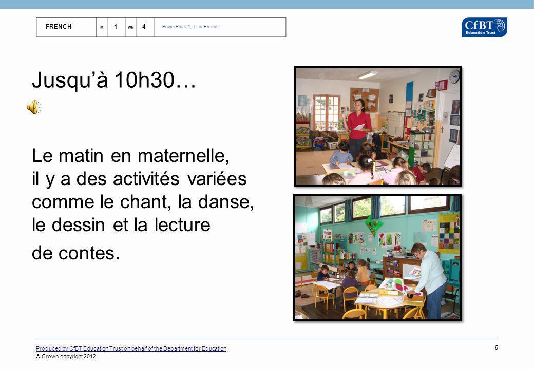Jusqu'à 10h30… Le matin en maternelle, il y a des activités variées comme le chant, la danse, le dessin et la lecture de contes.