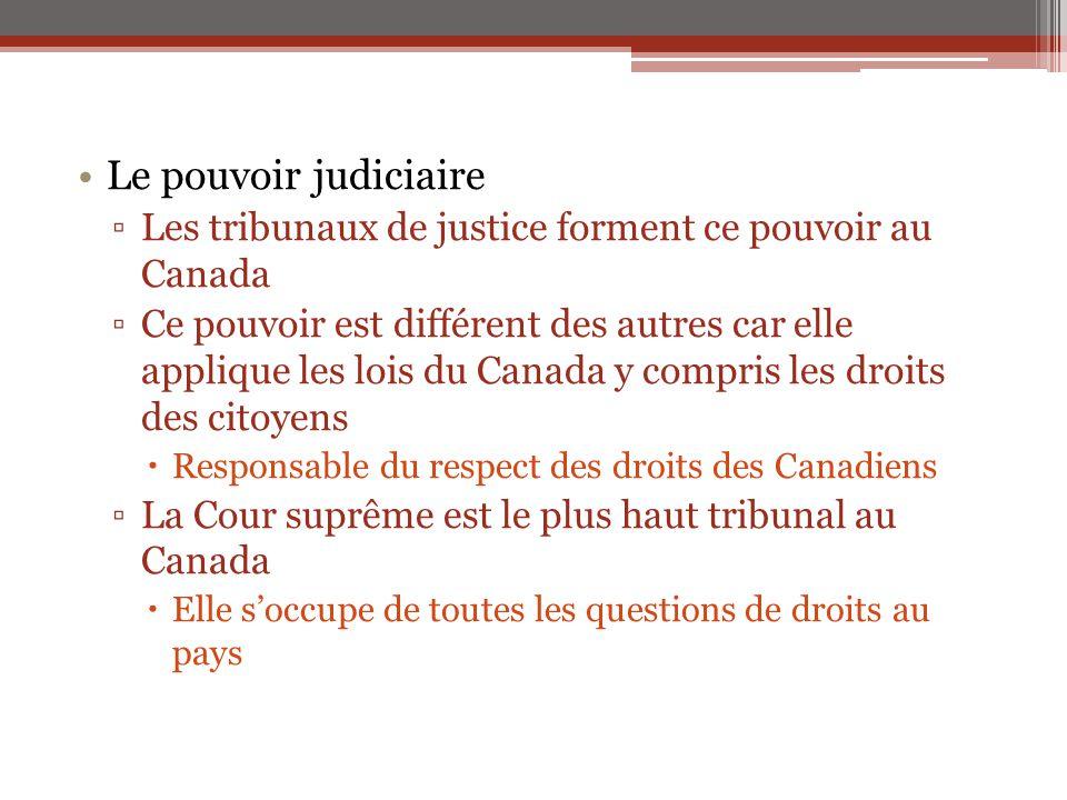 Le pouvoir judiciaire Les tribunaux de justice forment ce pouvoir au Canada.