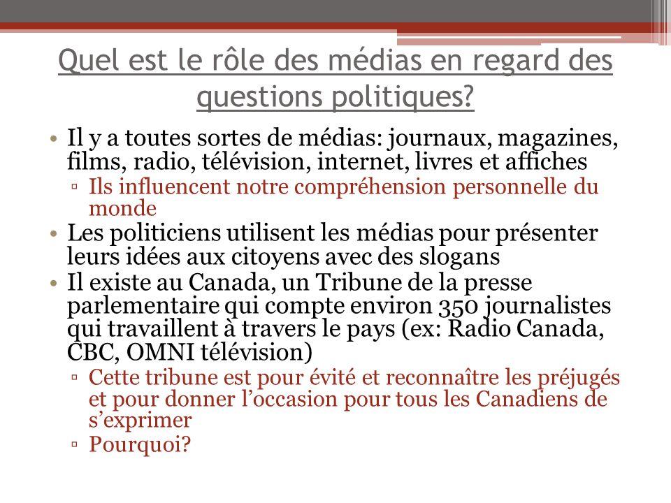 Quel est le rôle des médias en regard des questions politiques