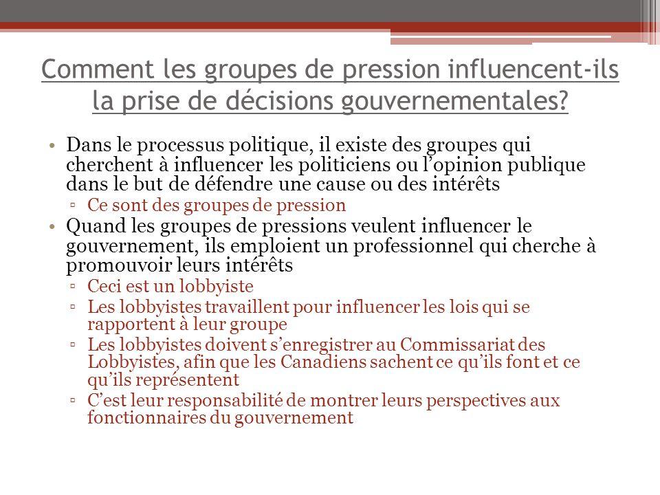 Comment les groupes de pression influencent-ils la prise de décisions gouvernementales