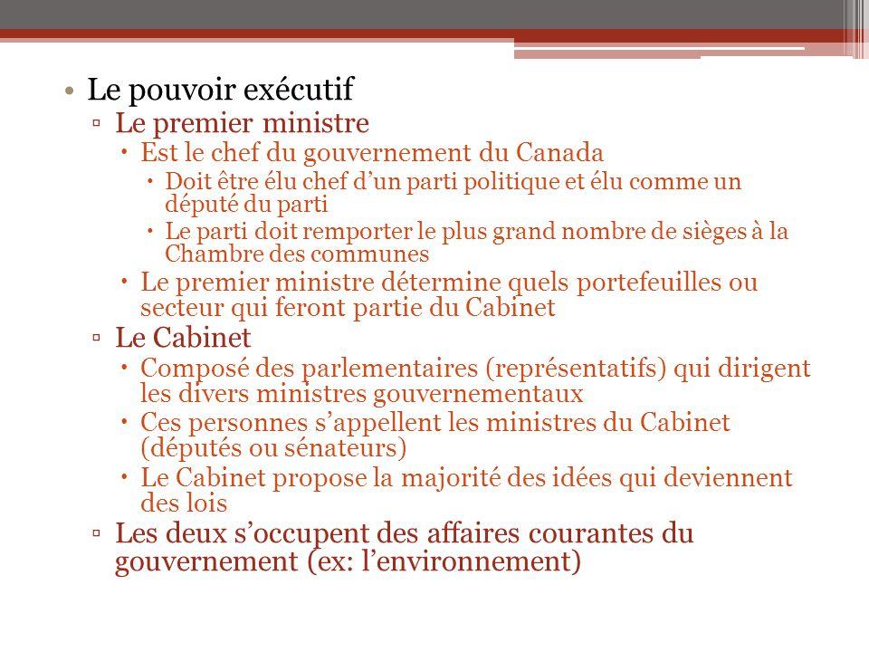 Le pouvoir exécutif Le premier ministre Le Cabinet