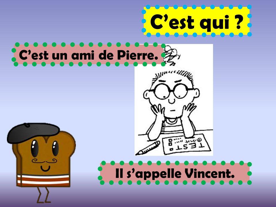 C'est qui C'est un ami de Pierre. Il s'appelle Vincent.