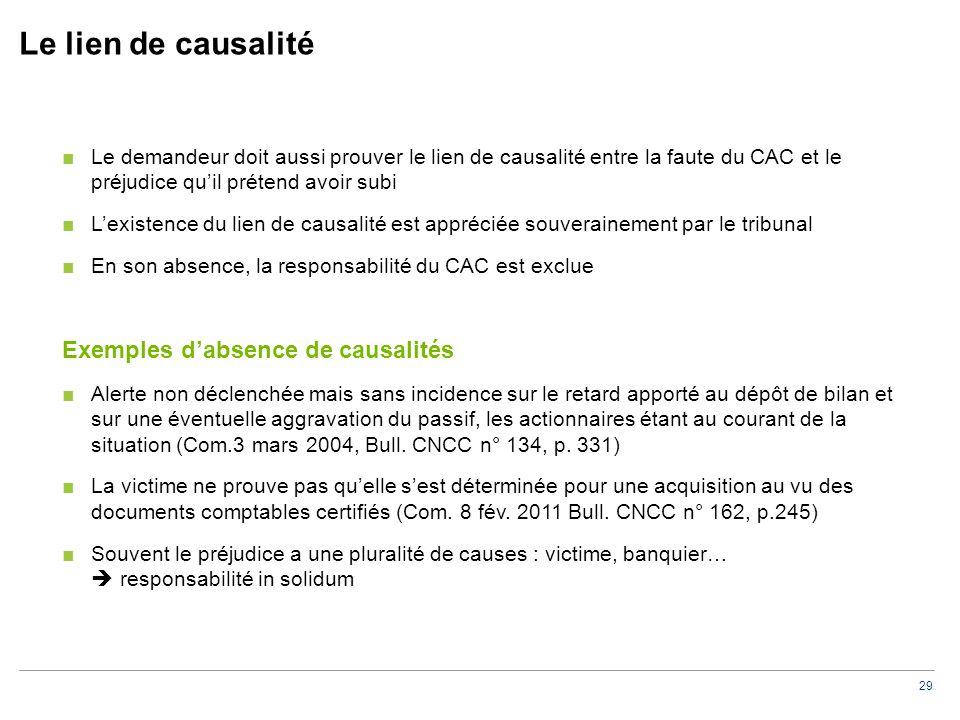 Le lien de causalité La responsabilité du CAC est exclue