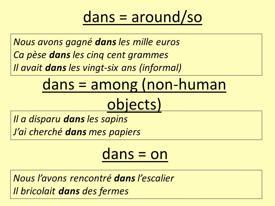 dans = among (non-human objects)