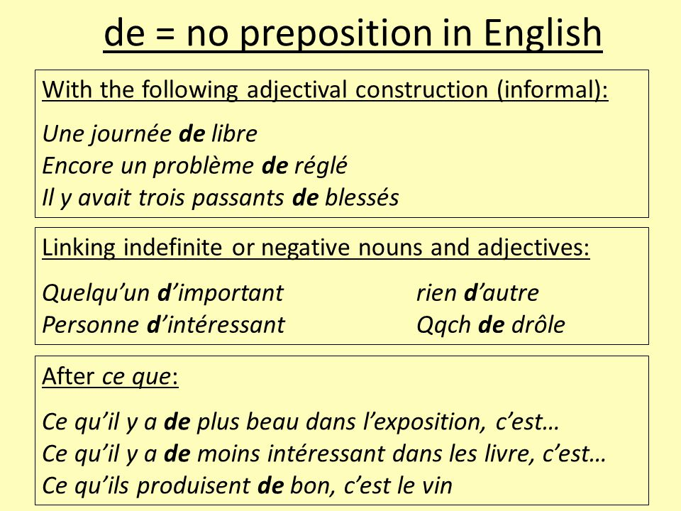 de = no preposition in English