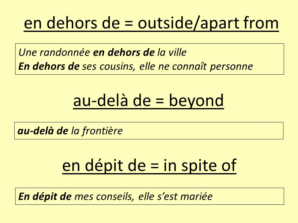 en dehors de = outside/apart from