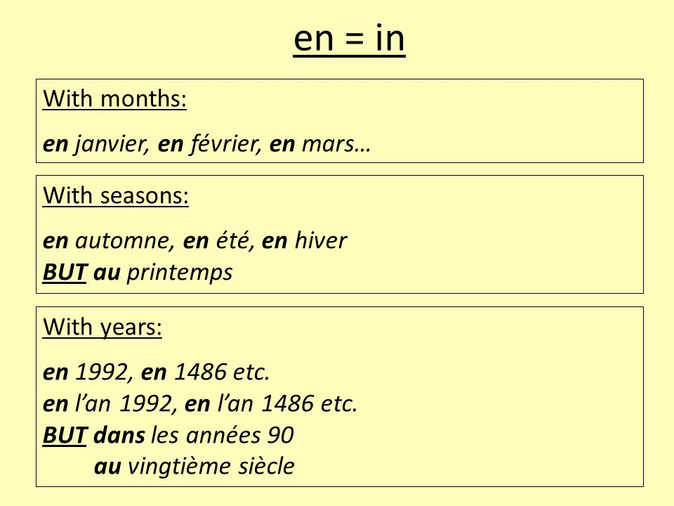 en = in With months: en janvier, en février, en mars… With seasons: