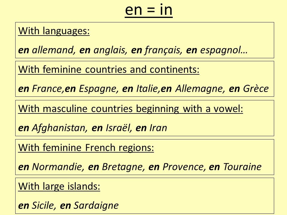 en = in With languages: en allemand, en anglais, en français, en espagnol… With feminine countries and continents: