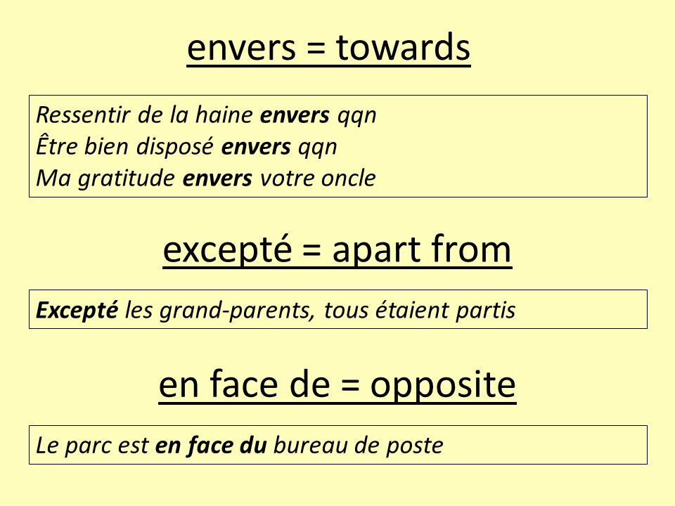 envers = towards excepté = apart from en face de = opposite