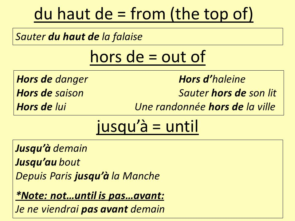 du haut de = from (the top of)