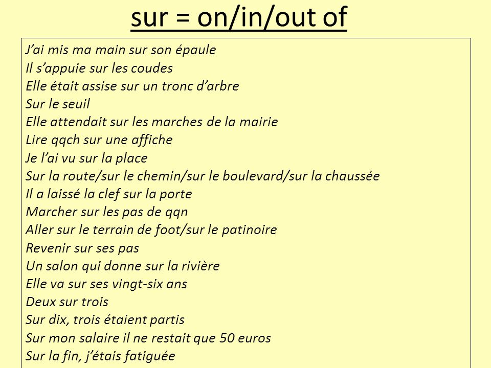 sur = on/in/out of J'ai mis ma main sur son épaule