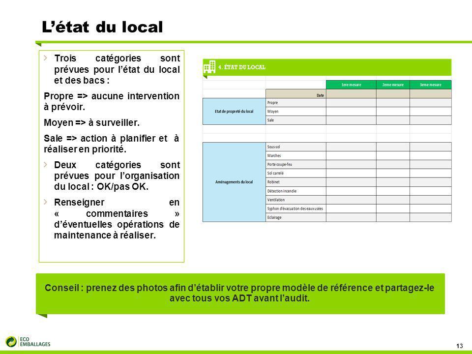 L'état du local Trois catégories sont prévues pour l'état du local et des bacs : Propre => aucune intervention à prévoir.