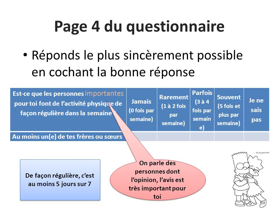 Page 4 du questionnaire Réponds le plus sincèrement possible en cochant la bonne réponse.
